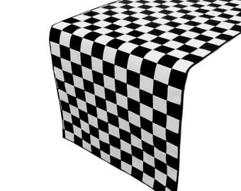 Zen Creative Designs Premium Cotton Table Top Runner Race-car Checker Black