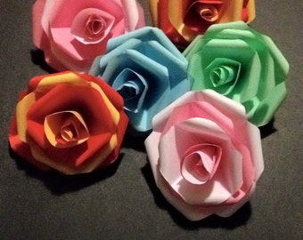 Paper roses large x6