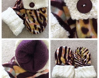 Handmade fleece animal print mittens