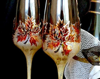 Fall Wedding Glasses, Maple Leaves Glasses, Autumn Leaves Glasses, Hand Painted, Set of 2, Wine Glass Art, Fall Leaves Glasses
