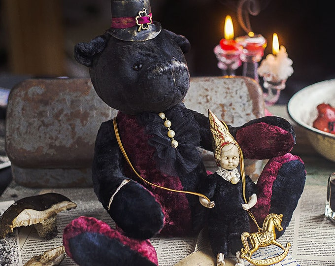 Big bear Victor and little baby doll Pollet - Black Teddy Bear artists , Teddy Bear artists , handmade toy , OOAK teddy bear with