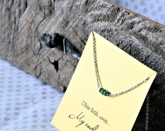 """Necklace of the collection """"Three small words"""" steel and Emerald - customizable gift card"""