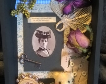Victorian Naturalist curiosity box with antique elements: photo from 1902, button card from 1917