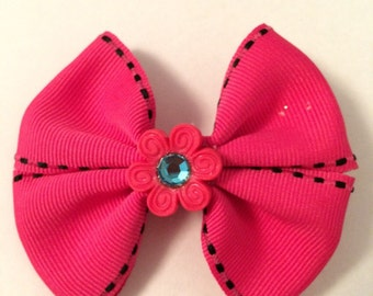 Pink with black edging barrette