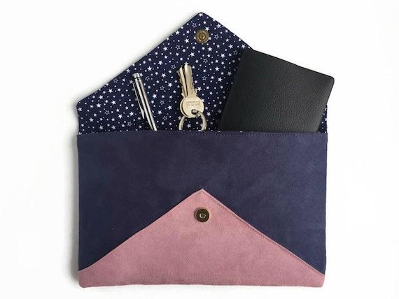 sac pochette de soir e mariage en su dine bleu marine et rose. Black Bedroom Furniture Sets. Home Design Ideas