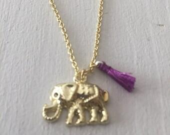 Elephant Neacklace with mini Tassel Vintage Gold