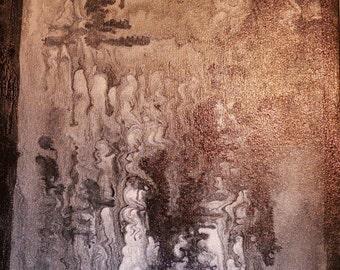 Abstract Artwork Black Ink on Iridescent Medium 16 x 40 Heavy Duty Canvas