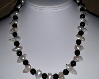 Obsidian and Baroque Pearl Necklace Gorgeous