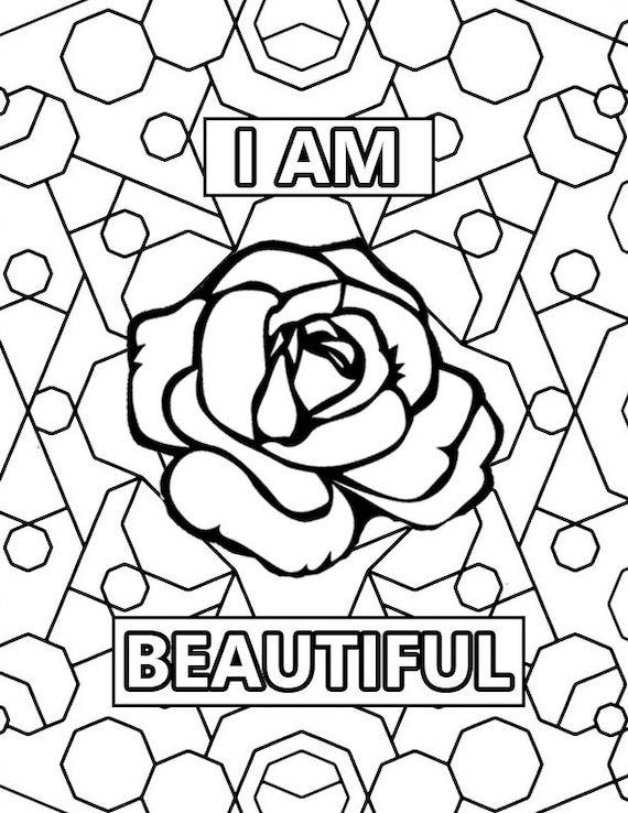 I am beautiful Printable Adult Coloring by ...