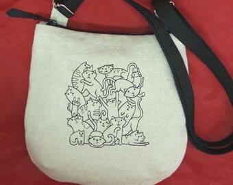Linen Crossbody Bag, Shoulder Bag