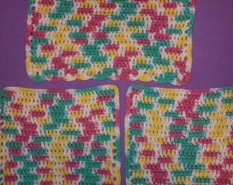 Hand crochet 3 multi color wash cloths New