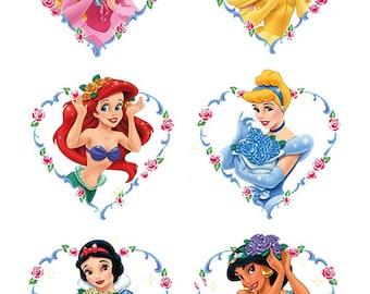 6 Disney Princess Heart cake topper edible wafer paper image ja