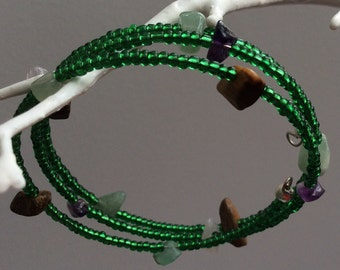 Memory wire green seed Czech beads with semi precious stones