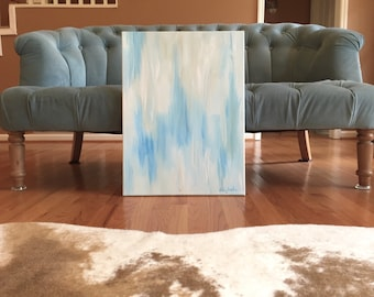 Blue and Beige Abstract Painting in Aqua Blue and Neutral Cream, Original Acrylic Abstract Painting