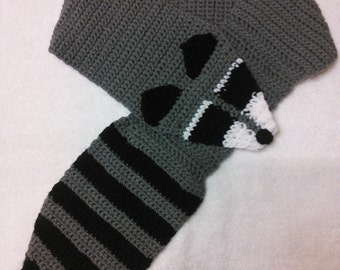 Handmade crochet raccoon scarf