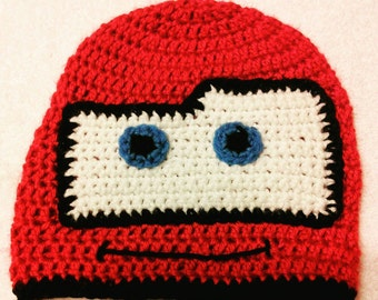 Handmade crochet lightning McQueen inspired hat