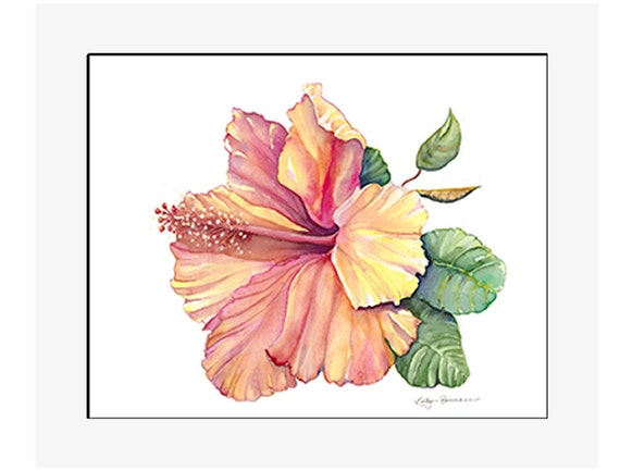 """Yellow Hibiscus giclee print of an original watercolor on 100% cotton rag, natural white, 24"""" x 20"""" matted and backed"""