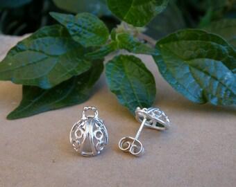 Silver ladybug earrings, Ladybug earrings, Sterling silver earrings, Silver stud earrings, Ladybug studs Silver girl earrings Valentine Gift