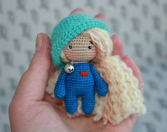 Sale 50% Amigurumi miniature doll, small mascot, gift for the girl and lady