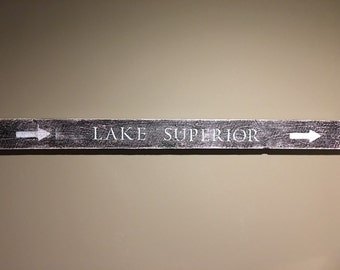 Repurposed Handmade Wood Lake Superior Sign