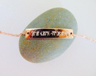 Coordinates Bar Bracelet, customized location bracelet, GPS Bracelet, Engraved Latitude Longitude Bracelet in 16K gold, rose gold or silver.