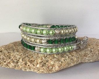 Leather Wrap Green Bracelet