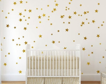 Star pattern, gold removable wall decals, children's bedroom, nursery, play room, vinyl decals, wall graphics, starry night, home decor-0014
