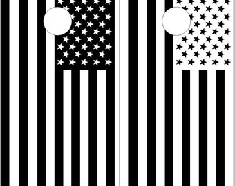 American Flag Black n White LAMINATED Cornhole Wrap Bag Toss Decal Baggo Skin Sticker Wraps