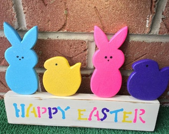 Easter Spring Bunnies and Peeps Decoration