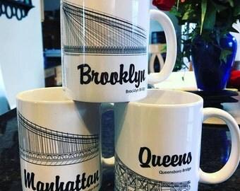 New York City Bridges - Manhattan, Brooklyn, Queens - Coffee Mug