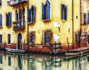Venice Italy, Canal Reflections, Venice Canal Boats, Yellow Building Canal Boats,Venice Art, Venice Wall Decor, Fine Art Photo