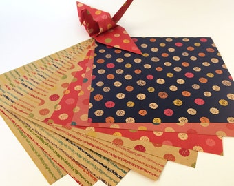 Origami Paper Sheets - Double-Sided Kraft Chiyogami Paper - 80 Sheets