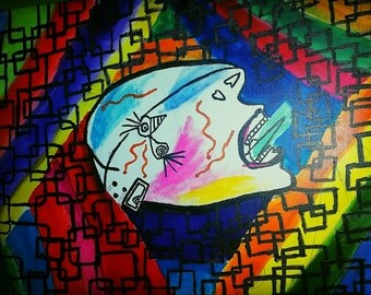 Picasso, psychedelic, inspired, acrylic, abstract, multi colored, canvas painting