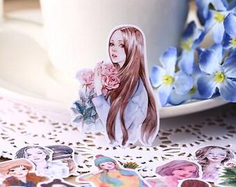 30 Handmade Girls Stickers,Kawaii, Cute Stickers, Planner Stickers (30 pieces)