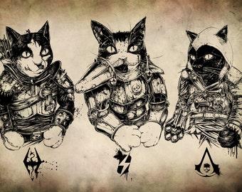 A4 Gaming Felines Print