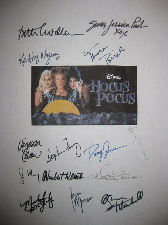 Hocus Pocus Signed Film Movie Screenplay Script x14 Autographs Bette Midler Sarah Jessica Parker Kathy Najimy Garry Marshall Penny Marshall