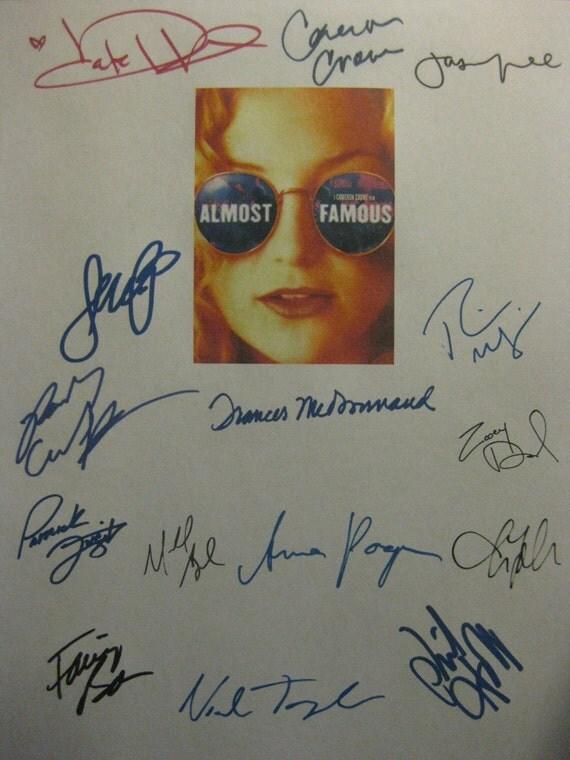 Almost Famous Signed Film Movie Script Screenplay Autograph X15 Kate Hudson Billy Crudup Zooey Deschanel Philip Seymour Hoffman Jason Lee