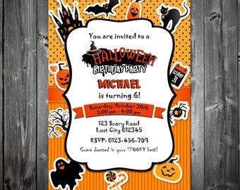 Halloween Birthday Invitation, Printable Halloween Party Invitation, Kids Halloween Party Invitation, Halloween Birthday Party Invite