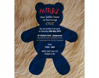 Bear First Birthday Invitation