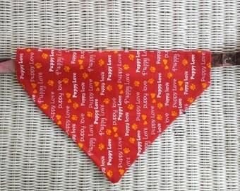 Large Doggie Bandana Collar// Dog Bandana Collar// Maroon//Orange//White