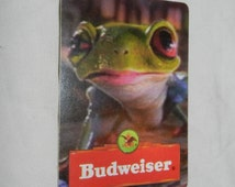 Swap card with Budweiser Frog on the back and The ace of Spades on the front - Litho in U.S.A. W5230 - Collectible Advertising ephemera 2-11