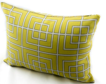 OUTDOOR Pillow Cover, Robert Allen Fretscene Canary Yellow.