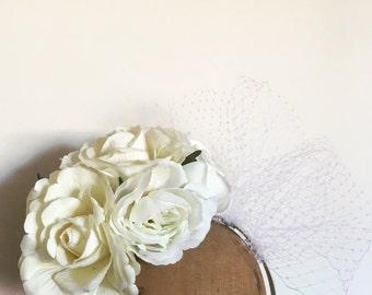 Flower Crown - Ivory Fascinator w Veil
