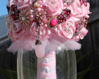 Wedding brooch bouquet pink bling