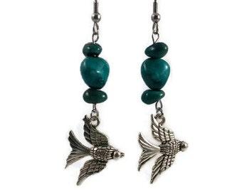 Earrings / birds / stainless steel/hypoallergenic-teal glass beads