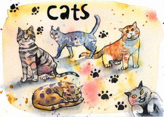 Cats - Pen and Watercolour Painting