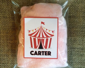 Circus Carnival Cotton Candy Party Favors - Circus Party Favor - Carnival Party Favor - Personalized - Cotton Candy - 10 Bags