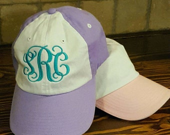 Two tone youth size baseball cap white and pink or lavender with monogram. Great birthday gift to for any girl.