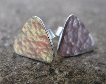 Sterling Silver Rustic Stud Earrings
