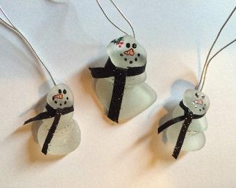 Beach Glass Ornament Snowman Christmas